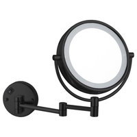 Matte Black Double Face LED 5x Makeup Mirror, Hardwired