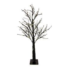 4.5' Black Tree With 100 Warm White LED Lights