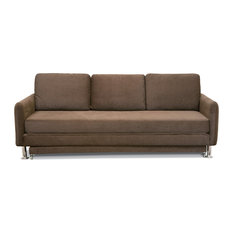 Cozy 3 Seater Brown Pull Out Sofa Bed