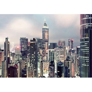 Skyline City Lights Photo Wall Mural, 368x254 cm