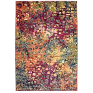 Colores Modern Rectangular Funky Rug, Red and Multi Coloured, 80x150 cm