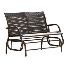 gdfstudio burbank outdoor wicker glider bench brown outdoor benches