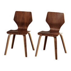 Mod Hexagon Mid Century Modern Bentwood Chairs Walnut Set Of 2 Dining