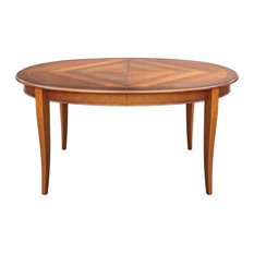 Mina Traditional Round Dining Table With Inlaid Top
