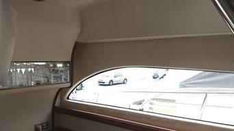 Rénovation intérieure d'un bateau du type Rodman 61 : la tapisserie murale des c