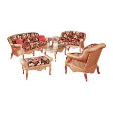 Palm Beach 6-Piece Living Room Furniture Set Cinnamon Fern Black Fabric