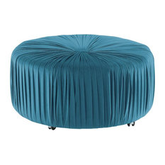 Lexicon Jaunt Wood Round Ottoman With Caster In Blue