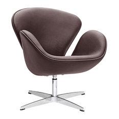 Fine Mod Imports Swan Chair Leather, Dark Brown