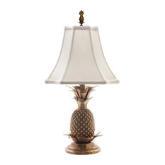 Charming Eurocraft Home Decor   Elegant Pineapple Table Lamp, Antique Brass With  Off White Shade