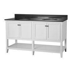 "Auguste 60"" Bathroom Vanity, White With Four Doors And Open Shelf"