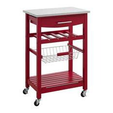 Modern Kitchen Cart Stainless Steel Top And Slide Out Storage Basket Red