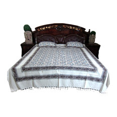 Mogul Interior - White Floral Printed Indian Cotton Tapestry Bedspreads With Pillows, Set Of 3 - Sheet And Pillowcase Sets