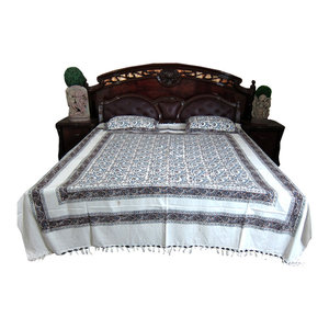Mogul Interior - White Floral Printed Indian Cotton Tapestry Bedspreads With Pillows, Set Of 3 - Blankets