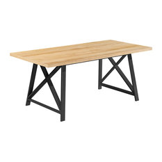 """71"""" Modern Table With Brown Finish Wood Tabletop & Metal Legs Six 6 seating, Lig"""