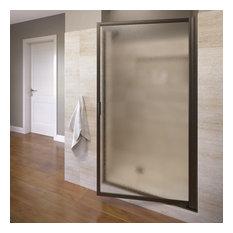 "Basco Shower Enclosures - Sopora 34.25-36"" Pivot Shower Door, Obscure Glass, Oil Rubbed Bronze - Shower Doors"