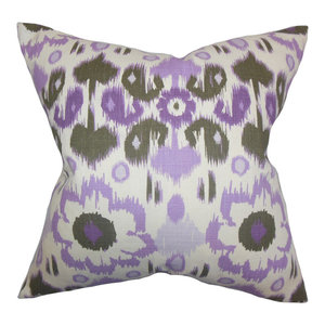 The Pillow Collection Ridha Ikat Bedding Sham Purple Sage Queen 20 X 30 Throw Pillow Covers Home Kitchen