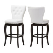 Leonice Faux Leather Button-Tufted Swivel Bar Stools, Set of 2, White