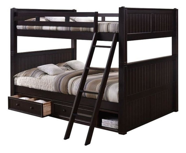 foster queen over queen bunk bed with underbed storage transitional bunk beds by totally. Black Bedroom Furniture Sets. Home Design Ideas