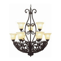 Antique Bronze 9-Light Chandelier With Champagne Ribbed Frosted Glass