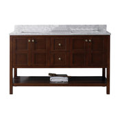 """Winterfell 60"""" Double Vanity, Base: Cherry, Without Mirror, Basin: Square, Witho"""