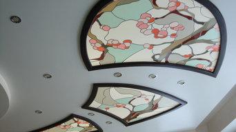 Витраж в потолок (загородный дом)