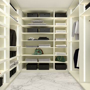 Small walk-in wardrobe in cool white matt finish supplied by Inspired Elements