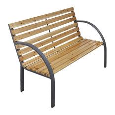 vidaXL Iron Frame Garden Bench With Wood Slats
