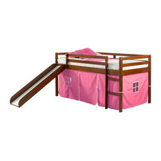 Horner Kids Twin Loft Bed With Slide and Tent, Light Espresso and Pink, Pink
