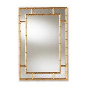 Baxton Studio Adra Decorative Bamboo Wall Mirror in Gold