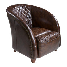 GDFStudio - Michele Brown Top Grain Leather Club Chair - Armchairs and Accent Chairs