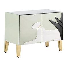 Grey Glass Sideboard With White Puma