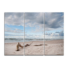 """Piece of Wood on Beach"" Canvas Artwork, 3 Panels, 36""x28"""