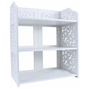 Contemporary Shoe Rack, Wood Plastic Composite With Open Shelves, White, 3 Tier