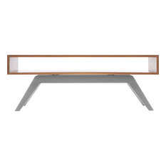 Eastvold Furniture - Elko Coffee Table, Walnut, Silver Base - Coffee Tables