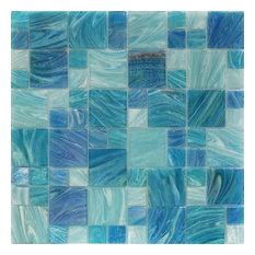 Aqua Random Sized Glass Mosaic Tile, Blue Sky