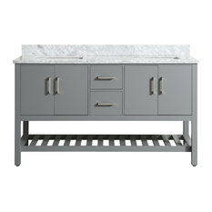 Flora Gray Bathroom Vanity With Marble Top, 61''