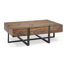 Prescott Modern Reclaimed Wood Rectangular Coffee Table, Rustic Honey