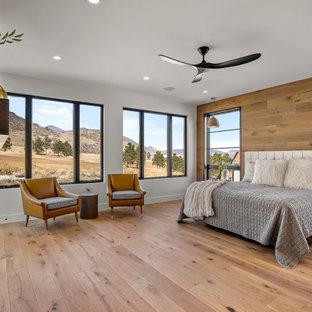 Großes Modernes Hauptschlafzimmer mit weißer Wandfarbe, hellem Holzboden, Kamin, Kaminumrandung aus Holzdielen und braunem Boden in Denver