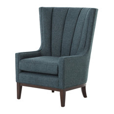 Four Hands Furniture   Kensington Channelled Wing Chair, Chess Peacock    Armchairs And Accent Chairs