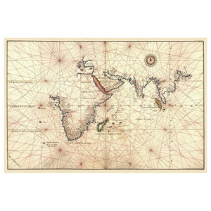 Portolan Map Of Africa Indian Ocean Indian Subcontinent Paper Art 38 X26 Contemporary Prints And Posters By Global Gallery