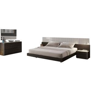 Porto Premium 5-Piece Bedroom Set, Light Gray and Wenge, Queen