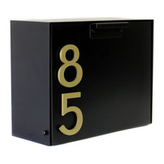 Cubby Wall Mounted Mailbox w/ House Numbers, Black, With Numbers