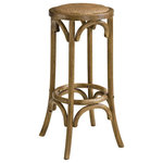 Linon Home - Rae Walnut Backless Bar Stool - Add welcoming texture to your home with the Rae Rattan Backless Stool. This naturally styled bar stool blends seamlessly into almost any style of home. The woven natural fibers and walnut brown finish gives this item arustic look, while the durable four-legged structure and bar height make it practical for every day use.