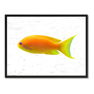 """Yellow Tropical Fish Painting, 28""""x37"""""""