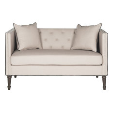 Sarah Tufted Settee With Pillows, Taupe Black With Espresso Wood