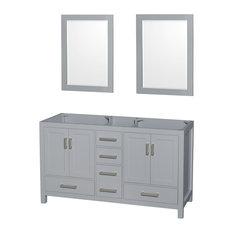 "Sheffield 60"" Gray Double Vanity, 24"" Gray Mirrors, No Countertop, No Sink"