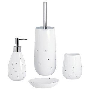 White Diamante Studded Visage 4-Piece Bathroom Accessory Collection