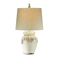 Bassett Mirror Eleanore Table Lamp in Crackled Ivory Ceramic Finish