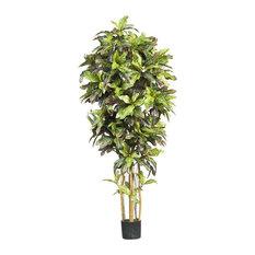 6 ft. Croton Silk Tree in Green