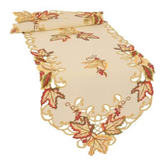 Moisson Leaf Embroidered Cutwork Fall Table Runner, Beige, 15''x54''